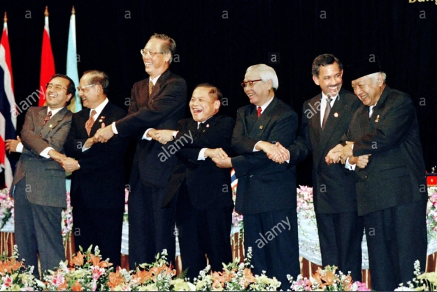 Leaders of the seven Association of Southeast Asian Nations laughs at a joke by Thailand Prime Minister Banharn Silpa-Archa (C