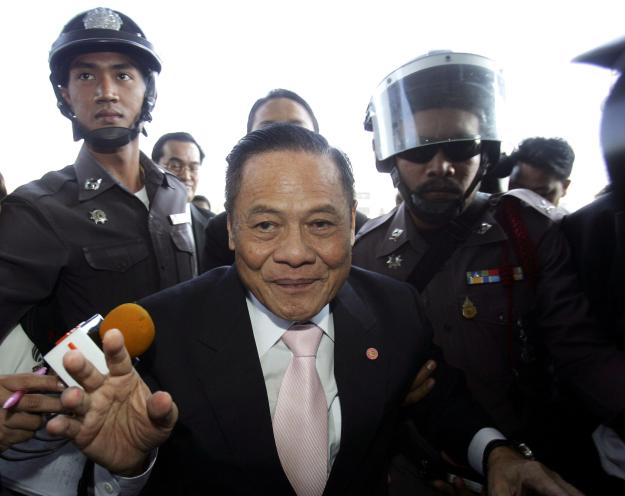 FILE- In this Dec. 2, 2008 file photo, former Prime Minister Banharn Silpa-archa arrives at the Administrative court in Bangkok