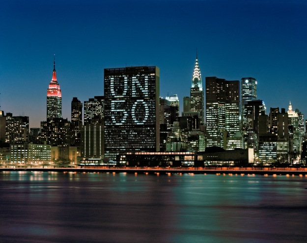 United Nations Lights up in Commemoration of Its Fiftieth Anniversary unmultimedia - 21 February 1995 United Nations, New York Photo # 64541
